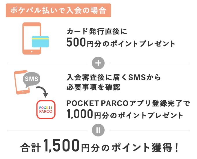 PARCOカードを郵送受け取りした場合のポイント付与を説明する画像